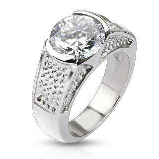 Winter Wonderland Sophisticated Wide Stainless Steel Band With Large Round Cut Center Cubic Zirconias