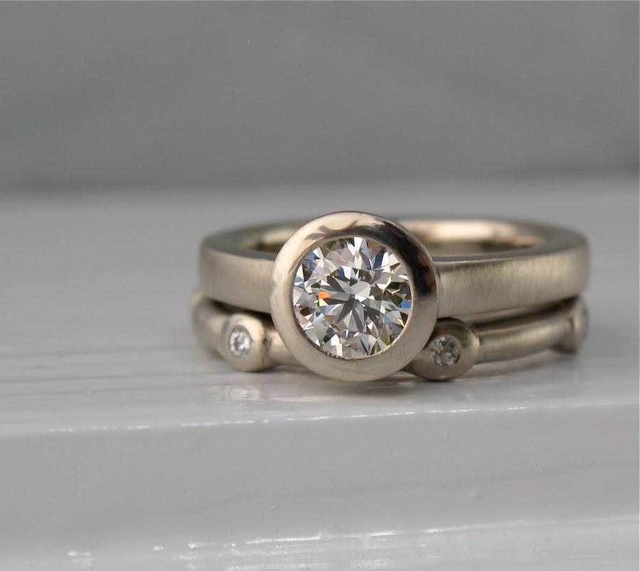 Свадьба - 18kt palladium white gold .65ct KVS1 solitaire with diamond scatter eternity wedding band