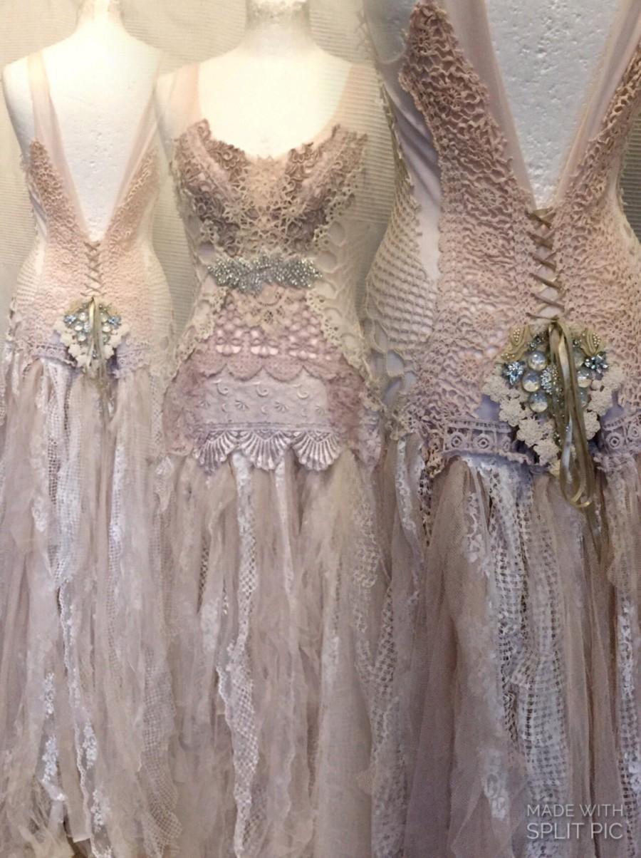 Hochzeit - Lace wedding dress in boho style,unique Bridal gown,lace statement wedding dress,handmade , fantasy fairytale dress,  , rhinestone, wedding