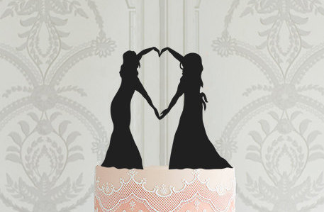 Mariage - READY TO SHIP Lesbian Wedding Cake Topper, Mrs Mrs Cake Topper, Cake Topper Silhouette, Bride Bride Cake Topper Same Sex Wedding Cake Topper