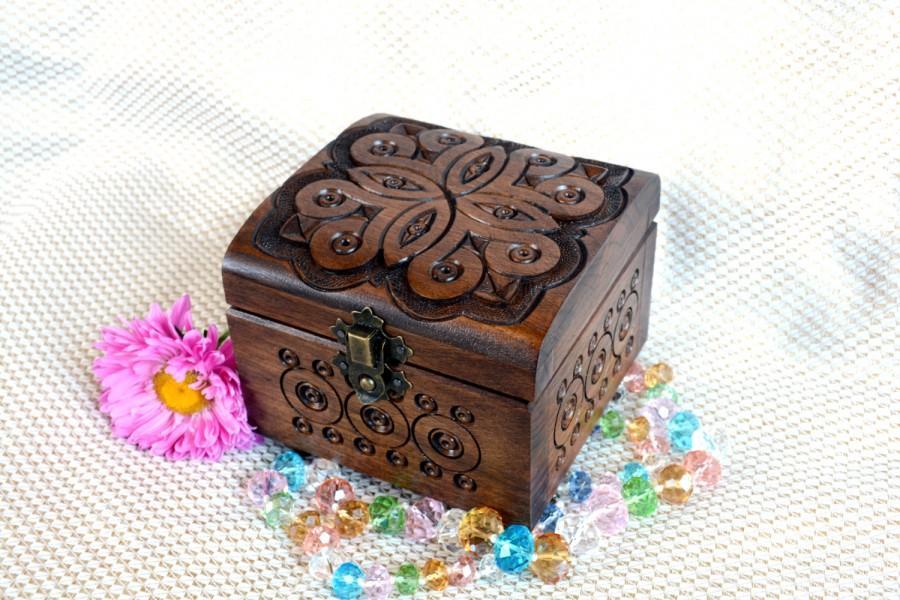 Mariage - Jewelry box Wedding ring box jewellery box Wooden box Ring box Jewelry boxes Wood carving wooden jewelry box Wood boxes boite a bijoux Q15