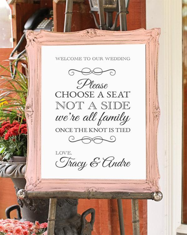 Свадьба - Choose a seat not a side, Wedding Sign, Shabby chic wedding decor, DIGITAL FILE