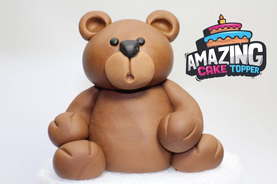 "Mariage - Teddy Bear Fondant Cake Topper. Ready to ship the same day (Business days). ""We do custom orders"""