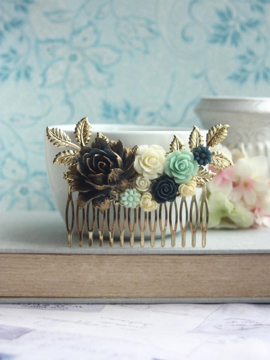 Mariage - Dark Blue Navy Blue Flower Hair Comb, Gold Dusky Blue Mint Rose Gold Leaf Hair Comb, Navy Blue Wedding Something Blue Wedding Bridal Comb