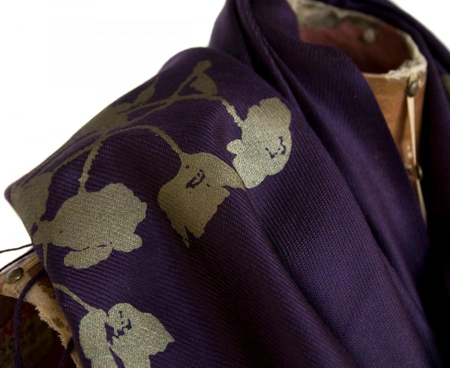 "Mariage - Large eggplant Pashmina scarf. ""Poppy"" design. Silkscreened with antique brass ink. Unisex."