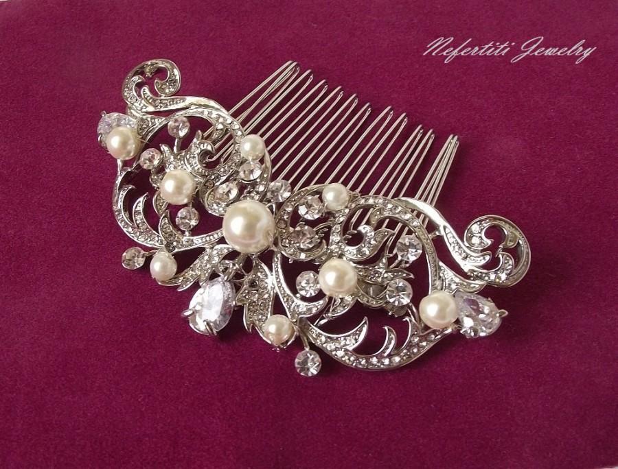 Mariage - pearl bridal hair comb, wedding hair piece, pearl hair comb, wedding hair comb, vintage bridal comb, veil comb ivory pearl bridal hair piece