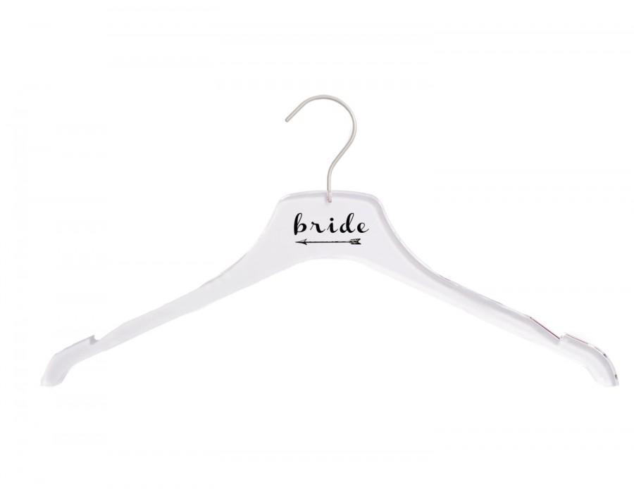 Mariage - FREE SHIPPING Clear Acrylic Bridal Hanger-Bride with Arrow-WeddingHanger- Wedding Dress Hanger