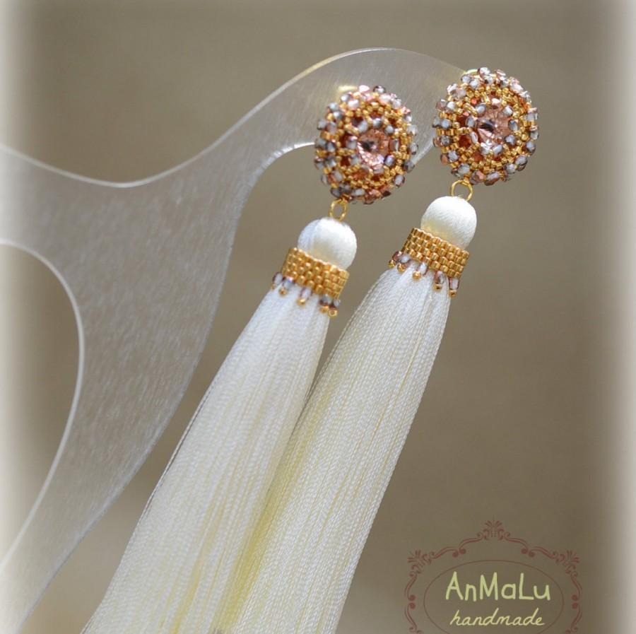 Свадьба - Tassel Earrings • Statement Earrings • Long beaded tassel earrings • Ivory earrings • Seed bead earrings • Swarovski earrings • Unique Gift