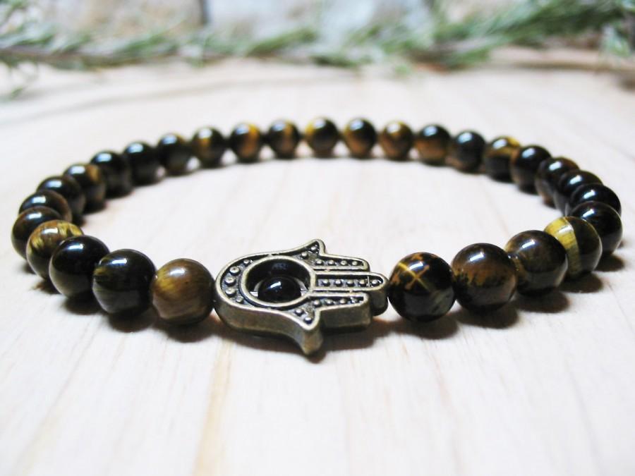 Hamsa Bracelet Mens Tiger Eye Energy Spiritual Solar Plexus Beaded