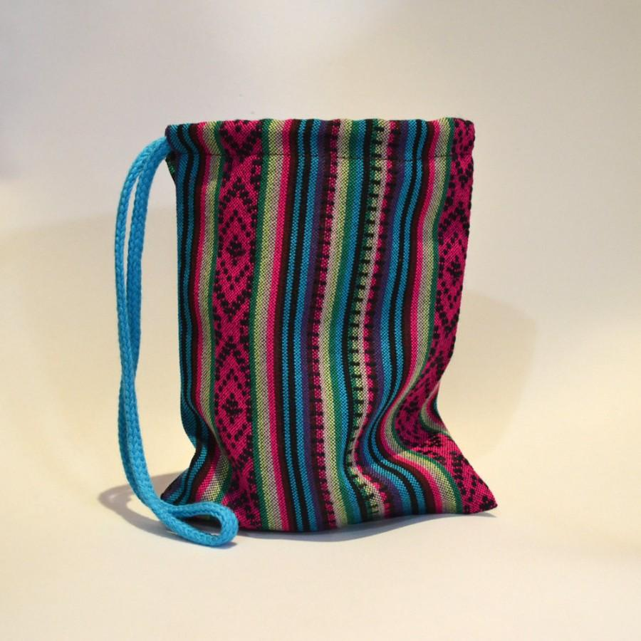 Свадьба - Bag canvas aguayo ethnic handmade boho Andean native of Argentina turquoise fuchsia