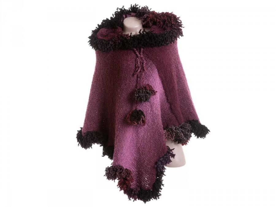 Boda - Pink poncho - Hooded poncho - Purple knit poncho with hood