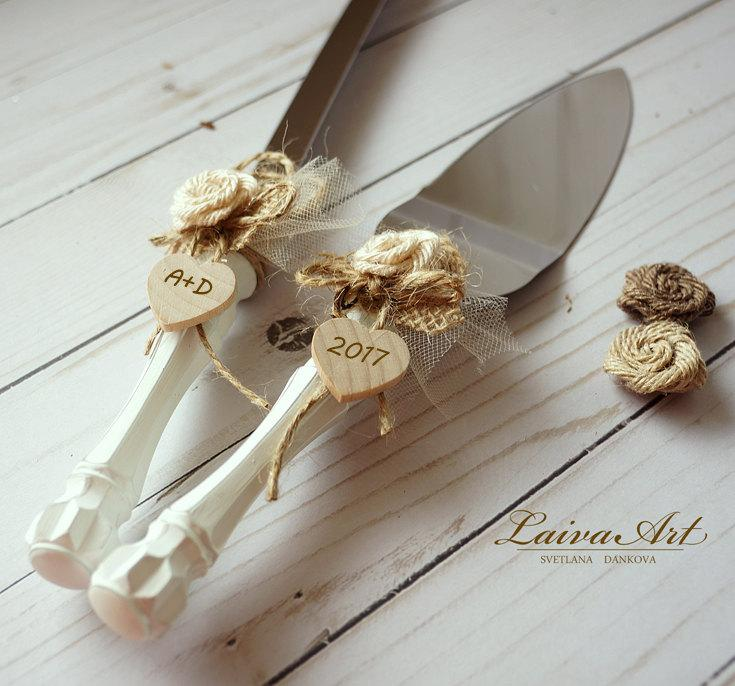 Hochzeit - Cake Server Set & Knife Rustic Wedding Cake Cutting Set Wedding Cake Knife Set Wedding Cake Servers Wedding Cake Cutter Cake Decoration