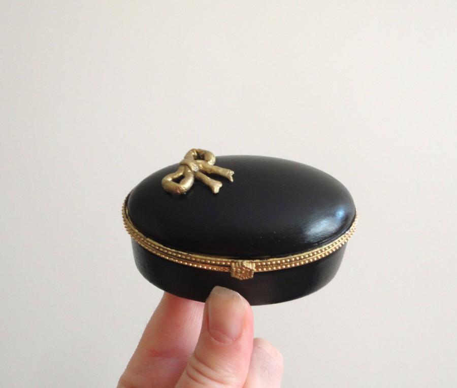 Mariage - Ring Bearer Box  Black  ring box Small box Engagement ring box Porcelain box Wedding rings box Black little box Elegant  box Made to Order