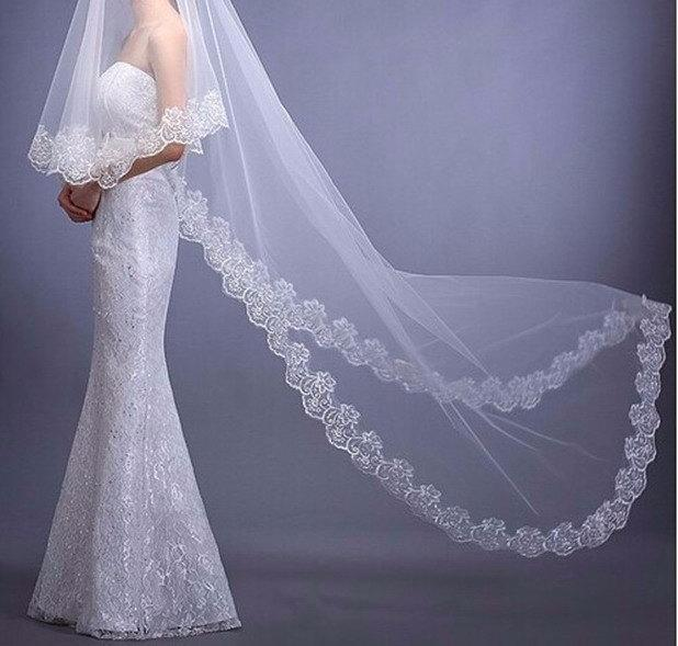 Mariage - Bridal Lace Wedding Veil / Cathedral /White veil/ Drop Veil