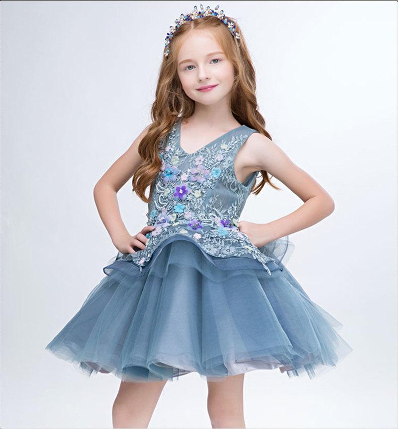 Wedding - Blue Flower Girl Dress Blue Pegeant Dress Fully Lined Multiple Layers Flower Girl Dress BDX002