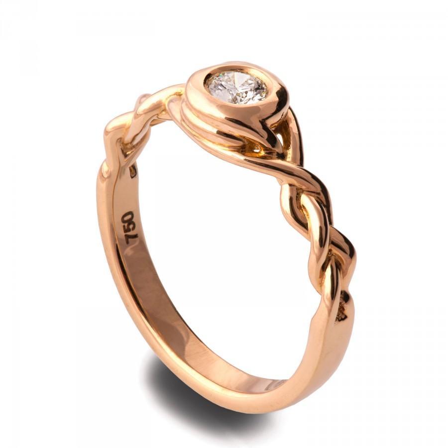 زفاف - Braided Engagement Ring - 14K Rose Gold and Moissanite engagement ring, celtic ring, engagement ring, Moissanite ring, art deco, edwardian,5