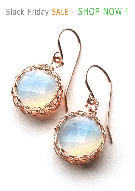 زفاف - Black Friday SALE - Rose gold opalite earrings in wire crochet rose gold filled , dangle earrings in lavender shade make unique bridal ea...