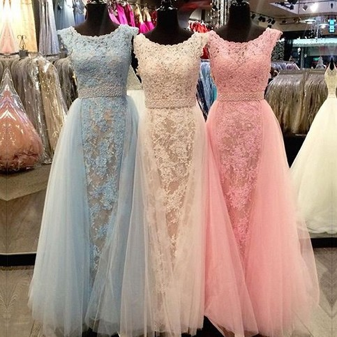 Wedding - Honorable Long Prom/Evening Dress - Lace A-Line Scoop Gown for Women from Dressywomen