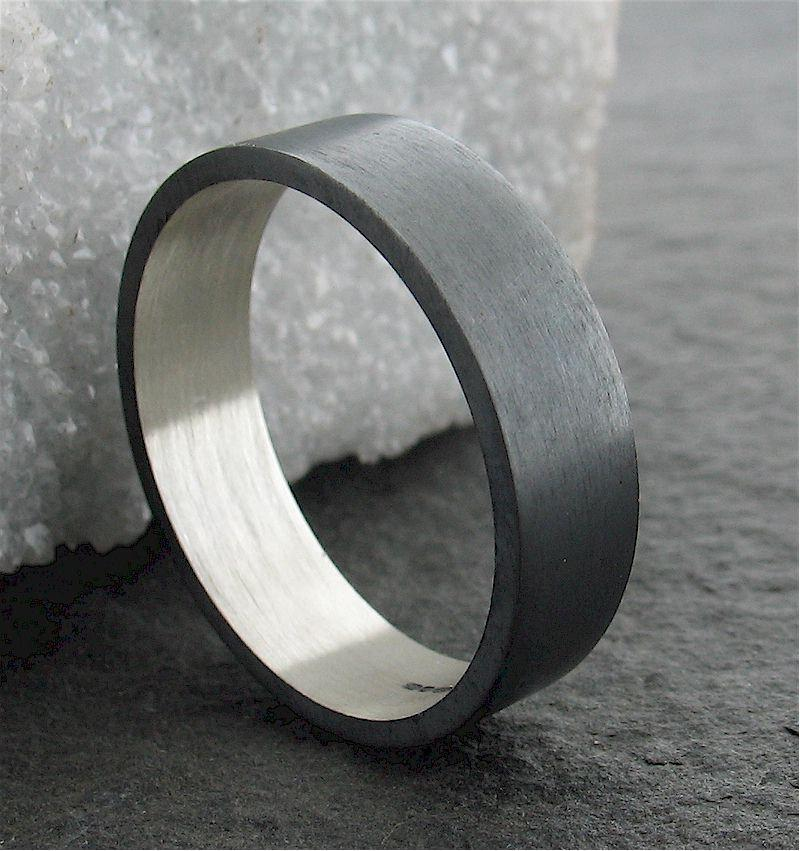 Wedding - Wedding ring, black coloured wedding band, full brushed finish