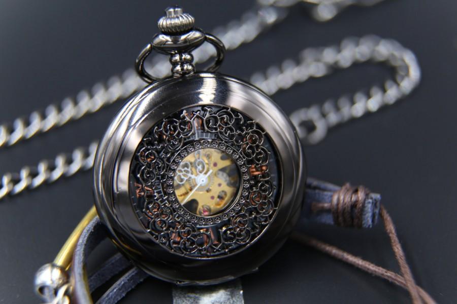 Steampunk Wedding Gifts: Personalized Mechanical Pocket Watch Steampunk Mens Pocket