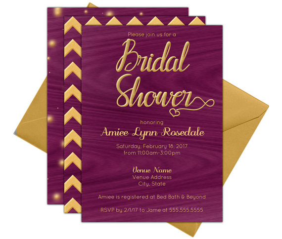 purpleheart wood bridal shower invitations diy printable at home using adobe reader instant download pdf