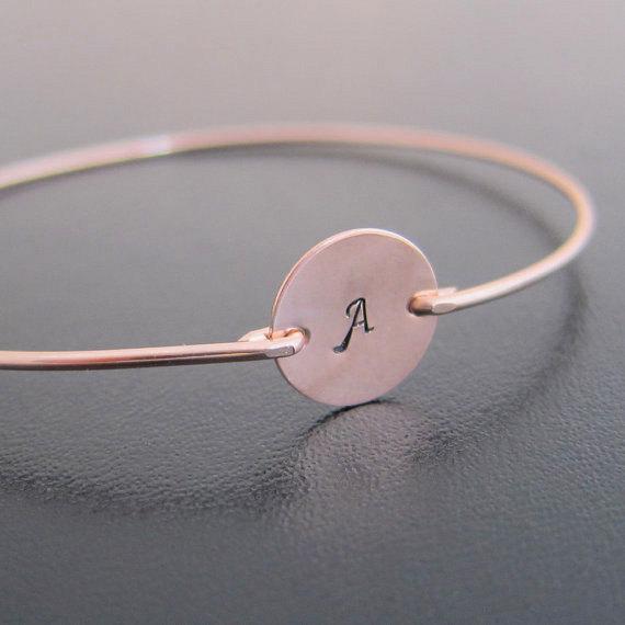 Rose Gold Bracelet Personalized Initial Monogram Bangle