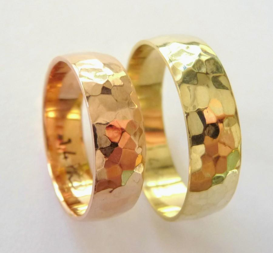 زفاف - Hammered wedding bands set women's men's wedding rings hammered 6mm polished shiny yellow and rose gold