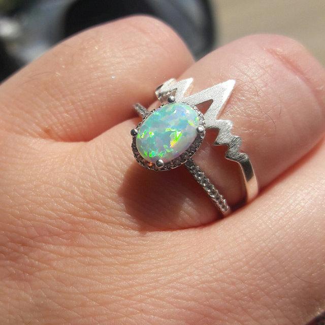 زفاف - Opal Ring Sterling Silver size 4 5 6 7 8 9 10 11 12 October Birthday October Birthstone Jewelry  Silver White Opal Rings - Simulated Diamond