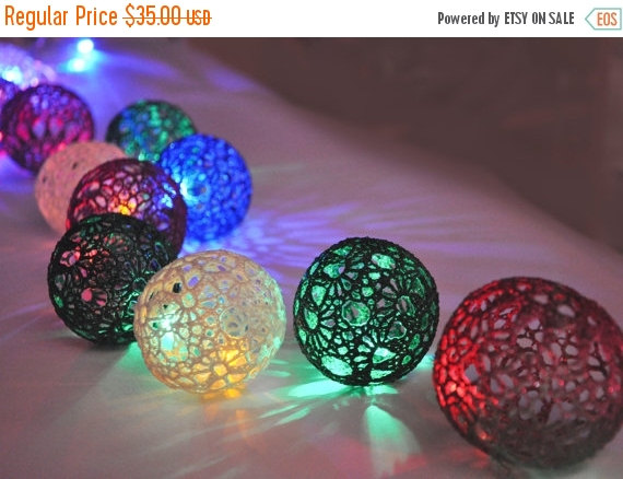 on sale christmas lights night lights bedroom decor lamps fairy lights string lights 20 lace crocheted colorful balls garland light