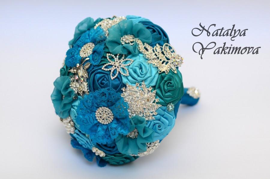 Hochzeit - Brooch Bouquet, Bridal Bouquet, Wedding Bouquet, Fabric Bouquet, Unique Wedding Bridal Bouquet, Turquoise in silver, Flowers on a wedding