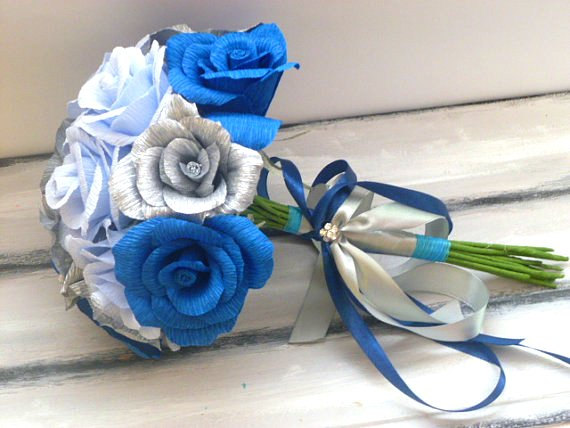 Hochzeit - Wedding Bouquet, Bridesmaids Bouquet, Paper Bridesmaids Bouquet, Bridal Bouquet, Paper Bridal Bouquet, Blue Roses Bouquet, Royal Blue Roses