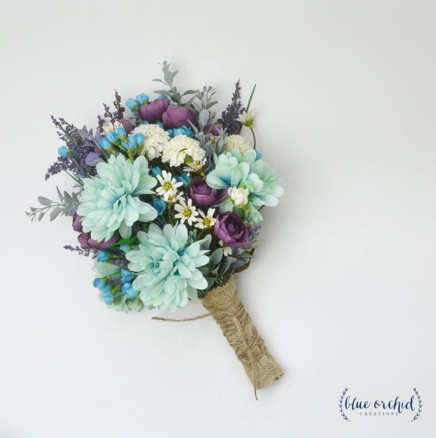 Wildflower bouquet lavender bouquet turquoise teal purple boho wildflower bouquet lavender bouquet turquoise teal purple boho wedding bouquet bridal bouquet silk flower bouquet silk wildflower mightylinksfo