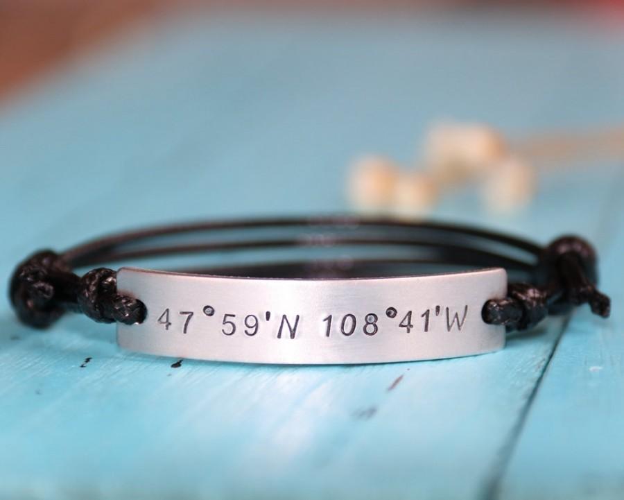 زفاف - Personalized Coordinates Bracelet, boyfriend gift bracelet, girlfriend gift bracelet, Latitude Longitude Bracelet, anniversary gift bracelet