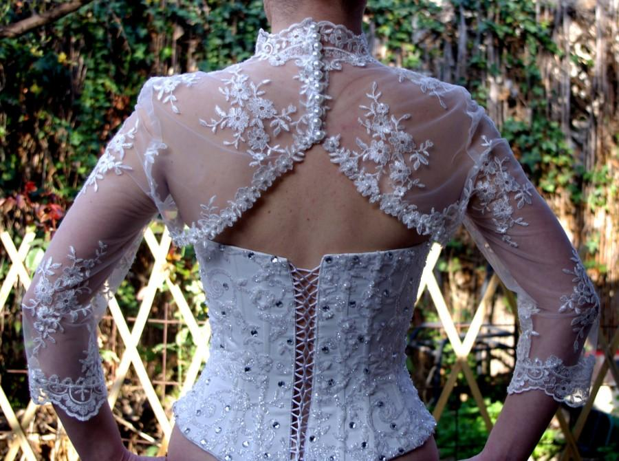 Mariage - Bridal Bolero Ivory Beaded Lace Pearls 3/4Sleeve