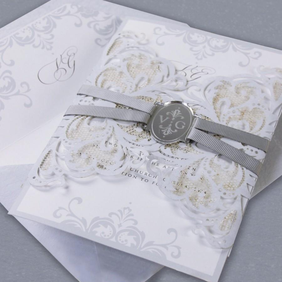 Dusty Blue Luxury Gatefold Lasercut Wedding Day Invitation With ...