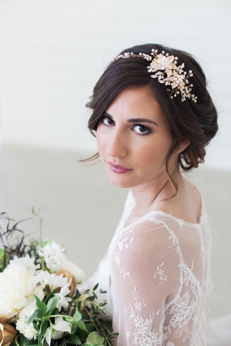 Свадьба - Rose Gold and gold Crystal Bridal Headpiece, Wedding Hair Vine, Bridal Hair Piece, Crystal beaded head piece, Gold Wedding Hair Accessories