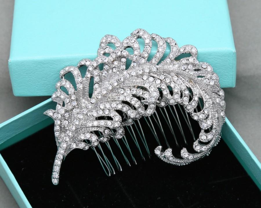 Wedding - Vintage Style Feather Bridal Hair Comb, Feather Wedding Hair Accessories, Rhinestone Crystal Hair Comb, Vintage Style Wedding Alligator clip