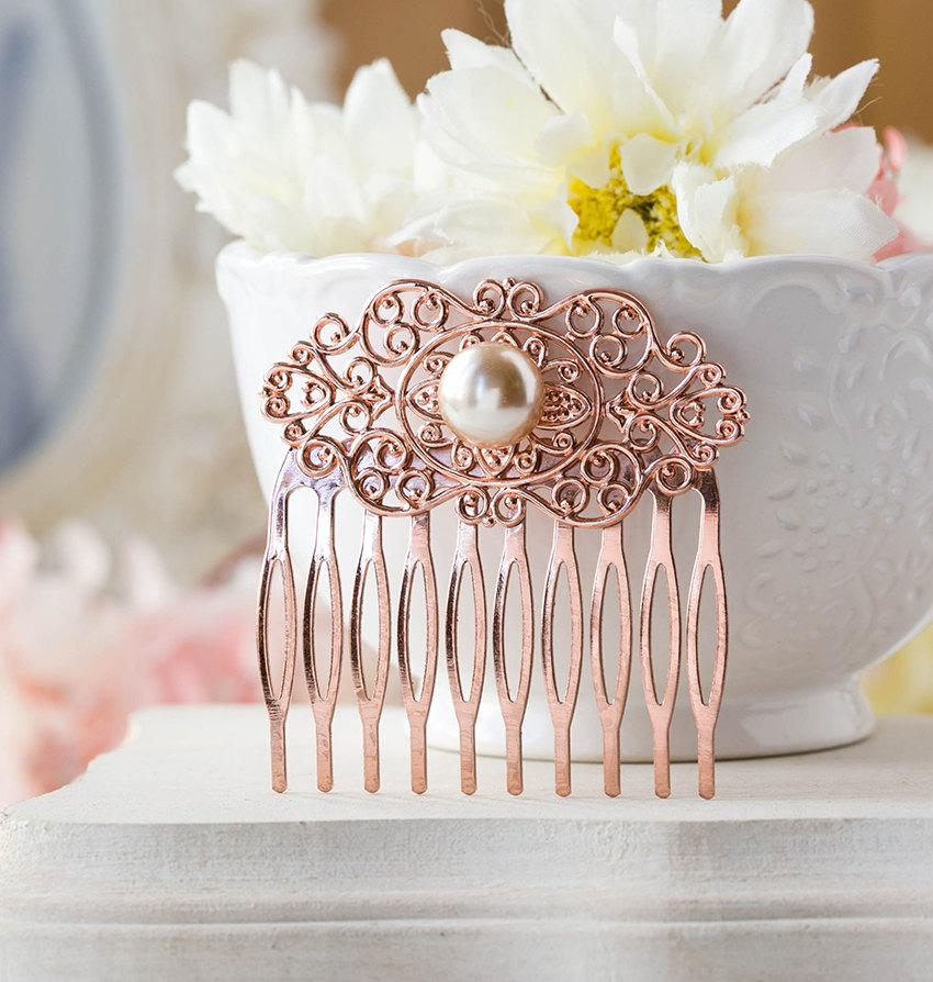 Mariage - Rose Gold Hair Comb, Rose Gold Wedding Bridal Hair Comb, Winter Fall Autumn Wedding, Bridesmaid Gift, Filigree Champagne Pearl Comb