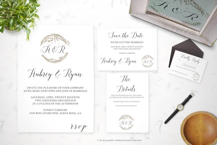 Gold Confetti Wedding Invitation Suite - Circle Printable ...