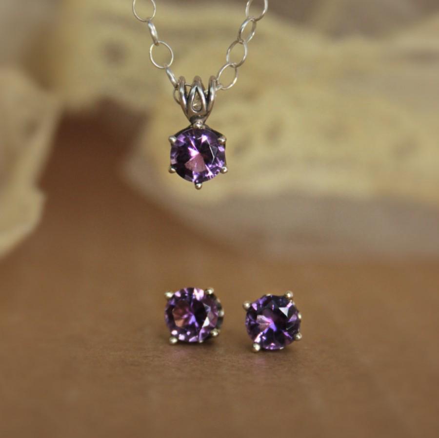 زفاف - Purple Amethyst Filigree Earring and Necklace Set in Sterling Silver - Stud Earrings and Solitaire Pendant with Chain - Faceted Gemstone Set