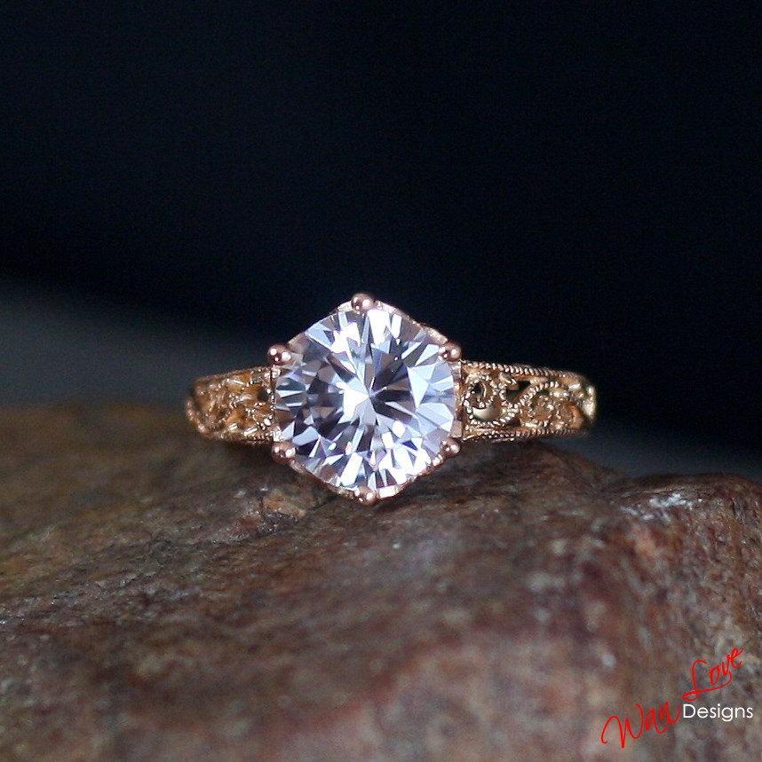Mariage - Light Pink Sapphire Filigree Milgrain Solitaire Engagement Ring Round 1.5ct 7mm 14k White Yellow Rose Gold-Platinum-Custom-Wedding-Anniversa