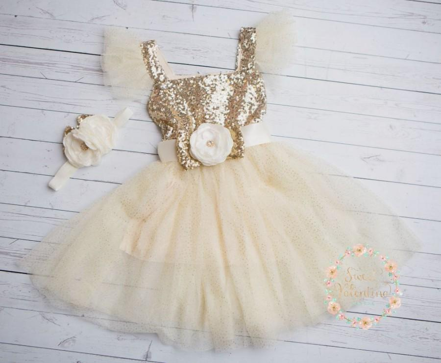 Wedding - Flower girl dress, Ivory and gold girl dress,1st Birthday dress,Ivory Tulle dress, coral flower girl dress,Princess dress,rustic flower girl