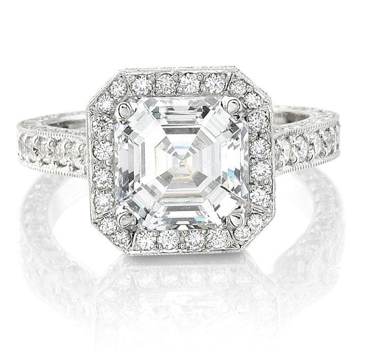 Mariage - Ladies Platinum antique diamond engagement ring 1.00 ctw G-VS2 diamonds and 1.50ct Asscher Cut White Sapphire Center