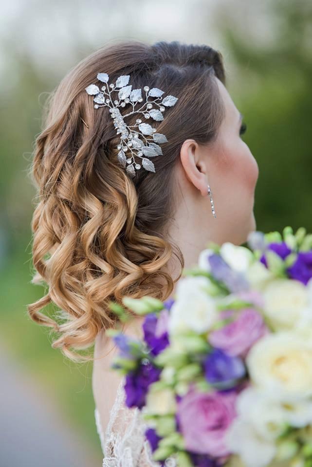 Mariage - Leaf bridal comb, Silver twig wedding comb, Rhinestone bridal comb, Silver Bridal Hair vine,Grecian Hair Comb,Bridal Headpiece, Hair piece