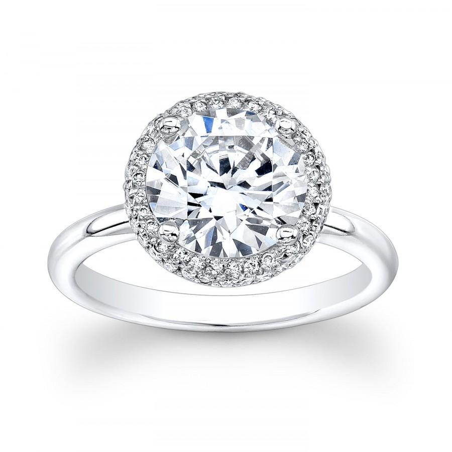 Wedding - Ladies 14kt white gold diamond engagement ring with 2ct white sapphire center 0.30 ctw G-VS2 diamonds