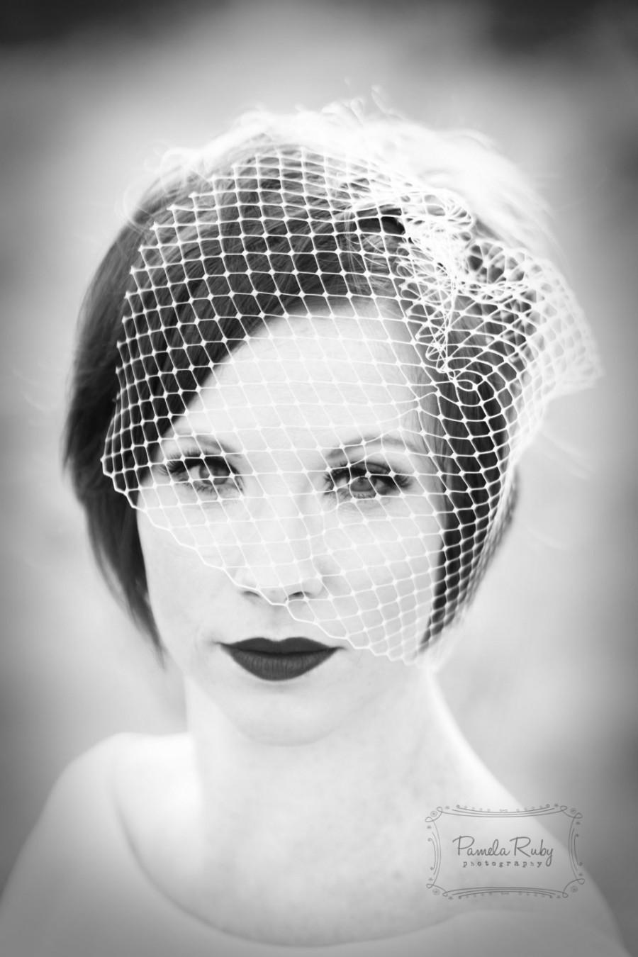 زفاف - Birdcage veil, bridal birdcage, white ivory birdcage veil, veil birdcage, bridal head piece, couture bride, chic bride.