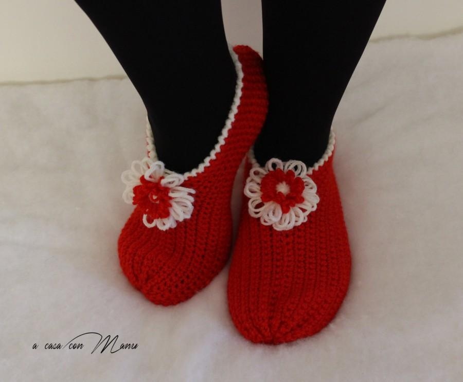 Mariage - Pantofole rosse di lana, red slippers, wool slippers, gifts, babbucce, calze, scarpe, christmas, crochet, Natale, handmade, made in Italy