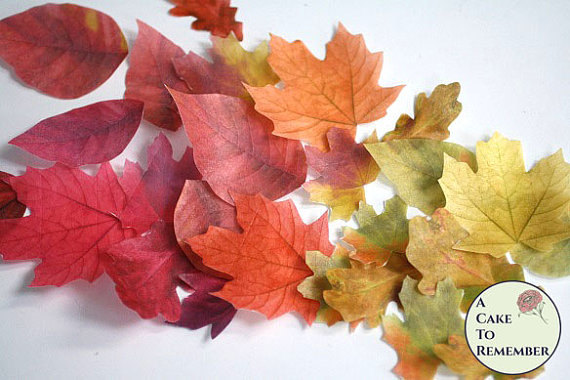 "Düğün - 15 Edible leaves for cakes, large 1.5"" to 3"" sizes, various colors. Fall wedding cake topper leaf edible images."