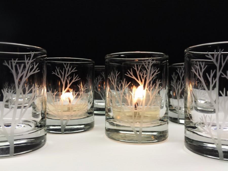Свадьба - 36 'Tree Branch' Candle Holders Autumn Wedding Favors Engraved Glass Votive Holders Fall Decor
