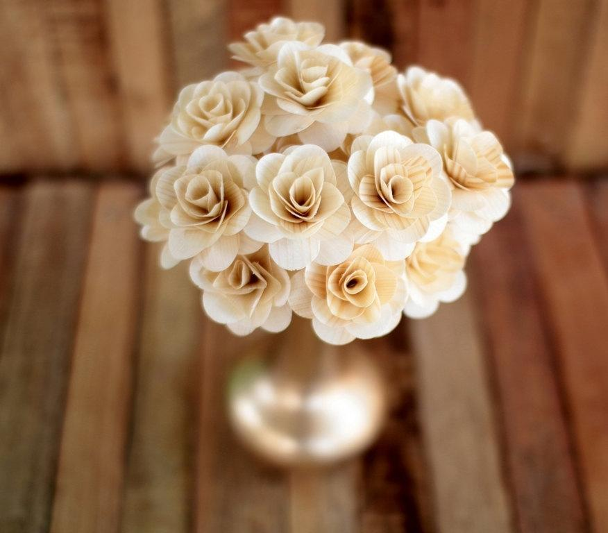 Mariage - Natural Ivory  Wooden Roses - Two Dozens with Wire Stem - 2 inches diameter